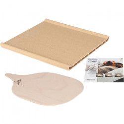 WPRO PTF100 Pierre a pizza : contient une plaque en terre cuite, une pelle d`enfournement en bois et un livret de