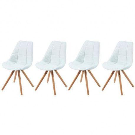 Frida Lot De 4 Chaises De Salle A Manger Pieds Bois Hetre Massif Tissu Blanc Capitonne Style Scandinave L 48