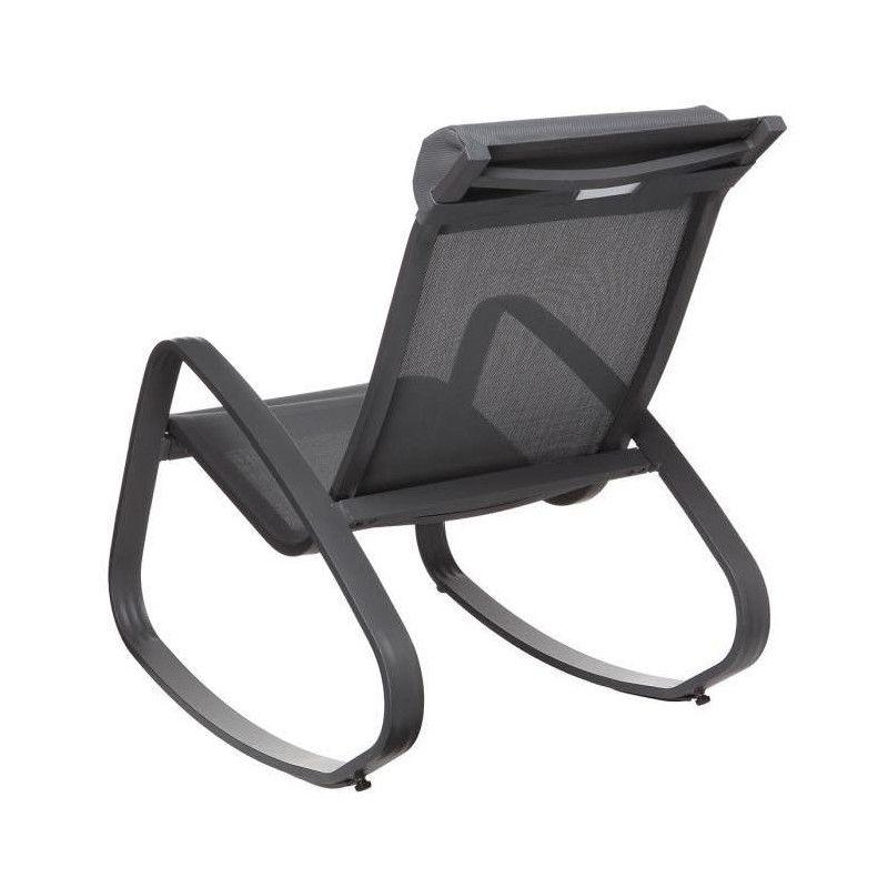 Kd fauteuil relax de jardin a bascule en aluminium et - Fauteuil relax de jardin ...