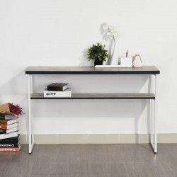 ROSEMARY Console - Industriel - Métal blanc + plateau mélaminé décor béton - L 120 cm