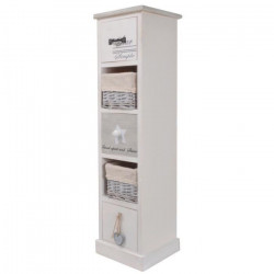 STAR Meuble de rangement salle de bain en bois Paulownia et MDF L 22 cm - Blanc
