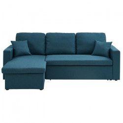 ASPEN Canapé d`angle réversible convertible 3 places - Tissu bleu canard - Contemporain - L 223 x P 150 cm