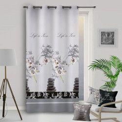 SOLEIL D`OCRE Rideau a oeillets ORCHIDEE - 135x250cm - Polyester Gris