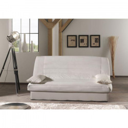 COCO Banquette clic-clac - 3 places - 190x89x90 cm - Tissu 100% coton - Ecru