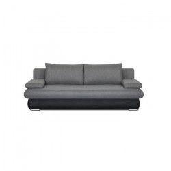 CLYDE Banquette convertible 3 places - Tissu gris et simili noir - Style contemporain - L 187 x P 94 cm