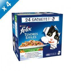 FELIX Tendres Effilés en Gelée Viandes-Poissons avec Légumes - 24 x 100 g (x4) - Pour chat adulte