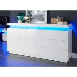 FLASH Commode de chambre style contemporain blanc brillant - L 150 cm