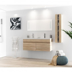 ALBAN Ensemble salle de bain double vasque avec miroir L 120 cm - Décor bois naturel