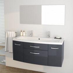 PACOME Ensemble meubles de salle de bain simple vasque + miroir L 120 cm - Gris laqué brillant