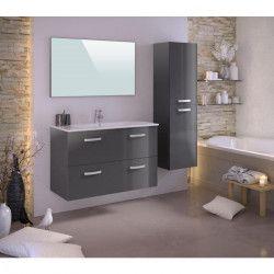 STELLA Ensemble salle de bain simple vasque avec miroir L 100 cm - Gris laqué brillant