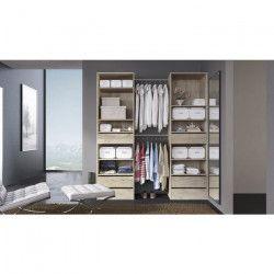 COMBI Kit dressing 2 colonnes + 2 barres de penderie contemporain décor chene clair - L 177 cm