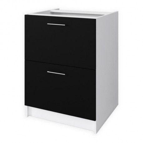 obi meuble bas casserolier l 60 cm noir mat. Black Bedroom Furniture Sets. Home Design Ideas