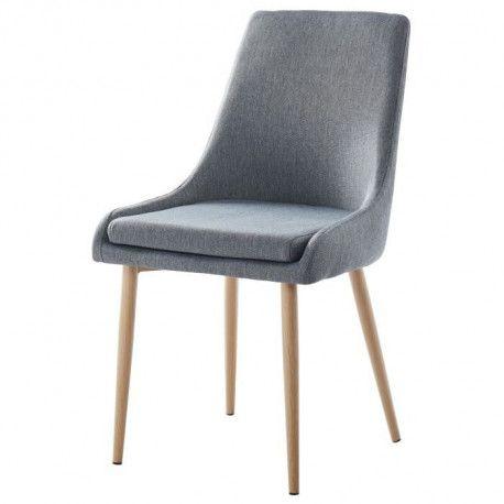 DINAH Lot de 2 chaises de salle a manger - Tissu gris anthracite -  Scandinave - L 57 x P 50 cm
