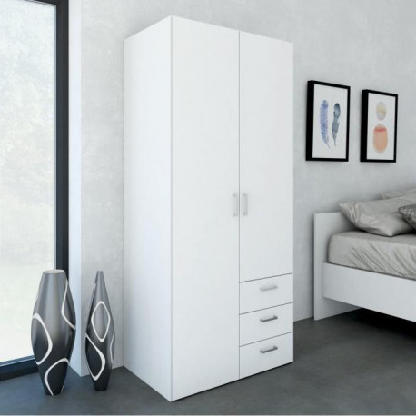 SPACE Armoire chambre style contemporain - Blanc brillant - L 78 cm