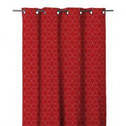 HOME MAISON Rideau occultant en étamine - 140 x 280 cm - 8 oeillets - Rouge