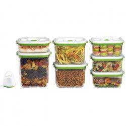 FOSA Kit de mise sous vide alimentaire en récipients - 3450-2300-1450-1000 ml - Blanc et vert