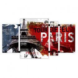 PARIS Tableau déco quadriptyque 50x90 cm rouge
