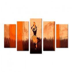 AFRIKA Tableau multi panneaux 120x80 cm beige