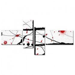 ABSTRAKT Tableau multi panneaux 130x65 cm blanc abstrait