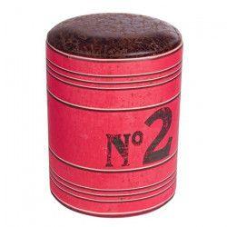 BATCH Lot de 2 tabourets revetement tissu rouge - Vintage - Ø 30 cm H 40cm