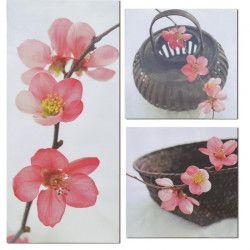 Lot de 3 Tableaux Déco Toiles Imprimée Fleur Zen - 60x65cm