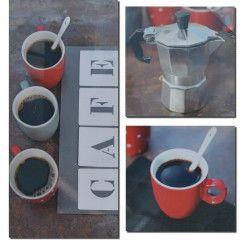 Lot de 3 Tableaux Déco Toiles Imprimée Café - 60x65cm