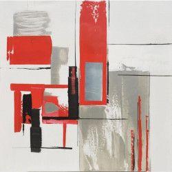 Tableau Déco Toile Red Rectangle - 50x50cm