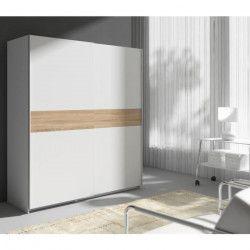 STAR Armoire style contemporain blanc et décor chene sonoma - L 170 cm