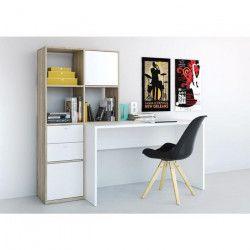 FUNCTION Bureau + bibliotheque - Décor chene Sonoma et blanc - L 151 cm