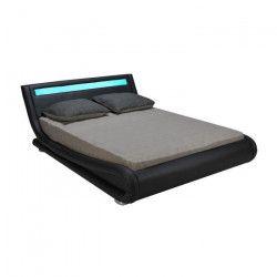 WAVE Lit adulte avec LED contemporain simili PU noir mat + sommier a lattes et tete de lit - l 160 x L 200 cm