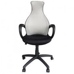 PEAR Fauteuil de bureau - Tissu gris et noir - Style contemporain - L 65 x P 67 cm