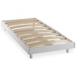 DEKO DREAM Sommier + pieds en bois massif - 90 x 190 cm - 24 lattes multiplis