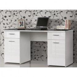NET Bureau + plateau verre contemporain blanc et noir - L 145 cm