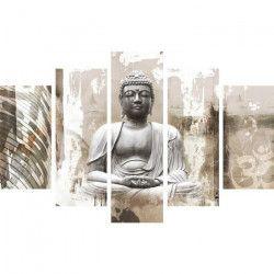 Tableau multi panneaux Bouddha XXL 150x100 cm beige
