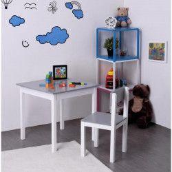 FINLANDEK Bureau enfant classique + chaise KISSA gris et blanc - L 60 cm