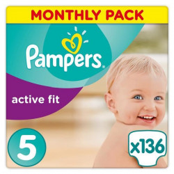 Pampers Active Fit Taille 5, 11-23 kg - 136 Couches - Pack 1 Mois