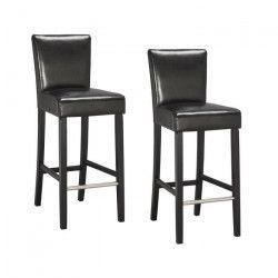 ELVIS Lot de 2 tabourets de bar - Simili noir - Contemporain - L 39 x P 49,5 cm