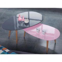 STONE Table basse ovale scandinave rose pastel laqué - L 88 x l 48 cm