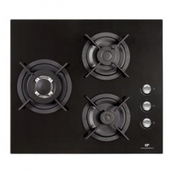 CONTINENTAL EDISON CTG3VB - Table de cuisson gaz-3 foyers-L59,4xP52,3cm-Revetement verre-Noir