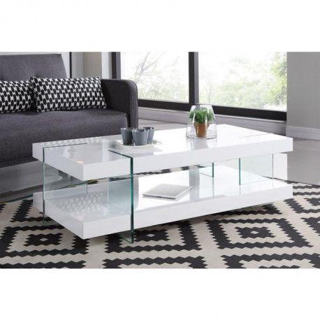 CREA Table basse blanc laqué brillant - Style