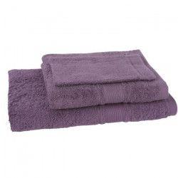 JULES CLARYSSE Lot de 1 serviette + 1 drap de bain + 1 gant de toilette Royale - Mauve
