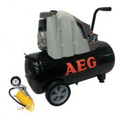 AEG Compresseur d`air horizontal 50 L 2 CV 8 bar livré avec poignée de gonflage homologuée, flexible 4 m et 3
