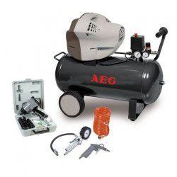 AEG Compresseur d`air 50 L 3 CV 10 bar avec coffret clé a choc 1/2 , flexible 4 m , soufflette et poignée de