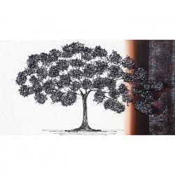 Toile peinte Arbre et pierres brillantes - Coton - 60x110 cm - Marron et noir