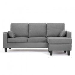 Canapé d`angle réversible BERLIN 3 places - Simili et tissu gris anthracite - Contemporain - L 185 x P 128 cm