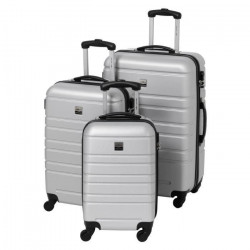 FRANCE BAG Set de 3 Valises Rigide ABS 4 Roues 55-65-70cm Argent