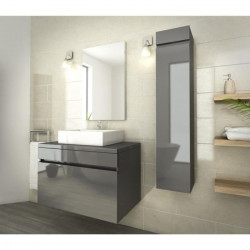 LUNA Ensemble salle de bain simple vasque L 80 cm - Gris verni
