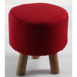 Pouf enfant pied en bois - Revetement tissu rouge - Scandinave - Scandinave - L 29 x P 29 cm