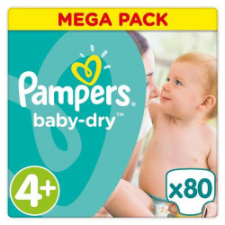 PAMPERS Baby-Dry Taille 4+, 10-15 kg - 80 Couches - Mega Pack