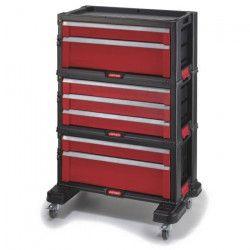 KETER Servante a outils avec 7 tiroirs - Noir et rouge